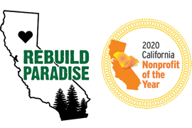 Rebuild Paradise Logo and 2020 California Nonprofit of the Year Award Logo