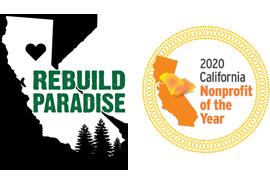 Rebuild Paradise Logo and 2020 California Nonprofit of the Year Award Logo